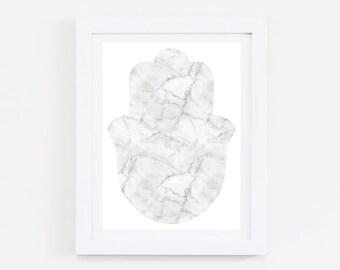 White Marble Hamsa