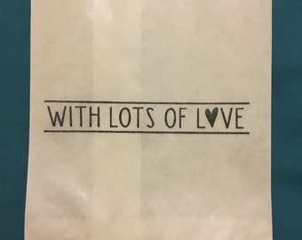 Paper Bags -25 x White Paper lolly Sweet Candy Bag - Hand Stamped With Lots Of Love Thank You Bag