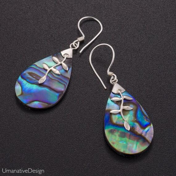 Abalone shell earrings silver. abalone shell jewelry. boho earrings. blue silver earrings. paua shell earrings. paua jewelry.
