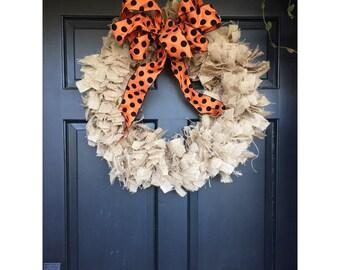 Burlap Wreath With Orange and Black Polka Dot Ribbon