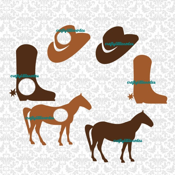 Cowboy Monogram Set Horse Hat Boots SVG STUDIO Ai Eps Scalable Vector Instant Download Commercial Use Cutting File Cricut Explore Silhouette