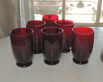 6 Matching Royal Ruby Footed Juice Glasses Anchor Hocking