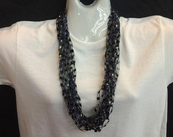 Navy and lighter blue crocheted ribbon necklace #11665