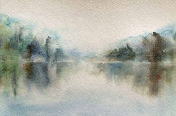 Landscape watercolor, Abstract watercolor, Misty landscape, reflection, lake, Landscape, Wet in Wet, Abstraction