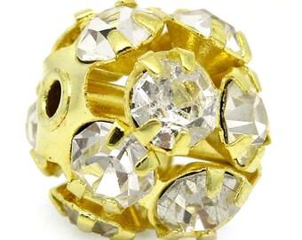 25PCs Gift Ornate Filigree Balls Beads Rhinestone Gold Plated 9mmx8mm