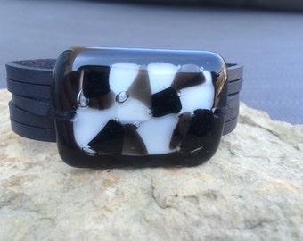 Gray and black leather bracelet and fused glass , women jewelry , leather  cuff bracelet , fused glass bracelet , handmade ,women
