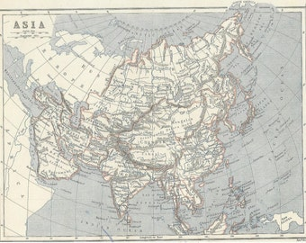 1873  map of  asia antique map vintage victorian wall decor