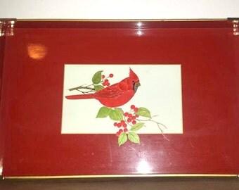 Vintage Lacquerware Tray with Handles,Otagiri Cardinal Tray,Serving Tray,Red Lacquerware,Cardinal Tray,Serving Platter,Red,Lacquer, Cardinal