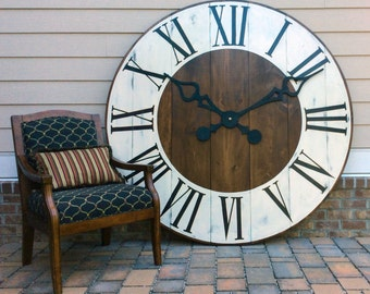 Oversized Wall Clock, Giant Wall Clock, Large Wall Clock, Farmhouse Clock, Rustic Wall Clock, 6 foot clock, Wedding gift,