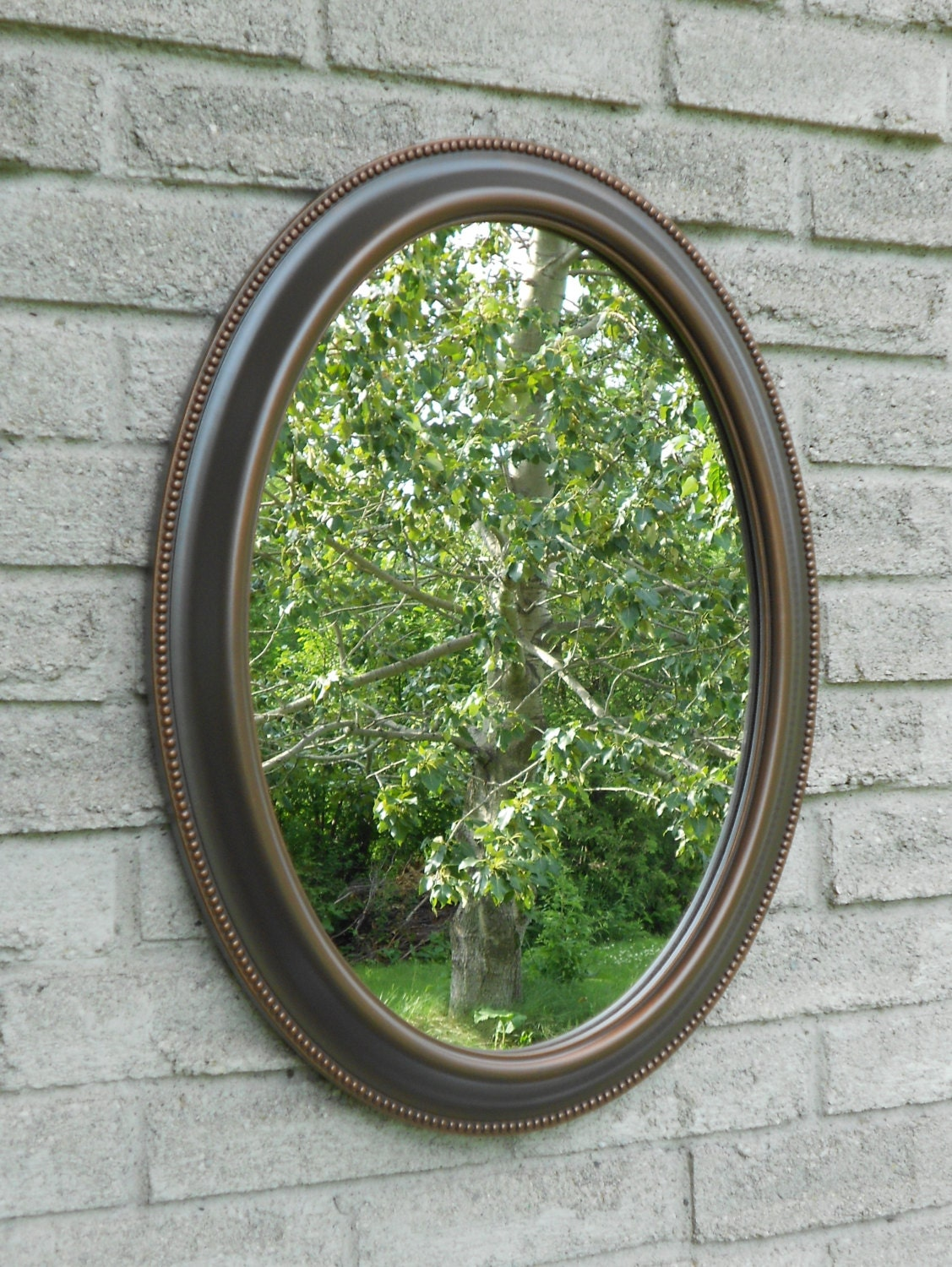 Wall oval mirror with oil rubbed bronze color frame for Bronze mirror