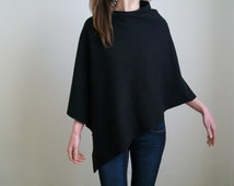 100% MERINO WOOL PONCHO / Pure Wool Cape/ Black Poncho/ Asymmetric Cape/ Wool Poncho/Winter Poncho Sweater /Womens Black Cape/ Poncho / Wrap