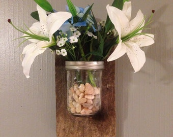 Rustic Reclaimed Mason Jar holder/flowers/art/wall art/decor/rustic/handmade, Mason Jar Wall Decor, Wood, Scones, Farmhouse Decor,
