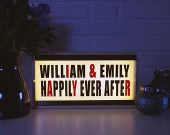 Wedding gift light box - custom light box - perzonalized light box - movie light box happily ever after - wedding decor - gift for lovers