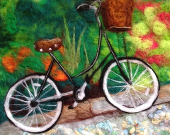 Original vintage bicycle artwork - framed felted art 33cm x 43cm