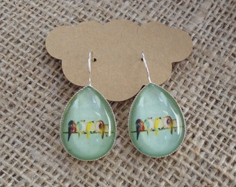 Birds on a Wire Glass Photo Cabochon Earrings