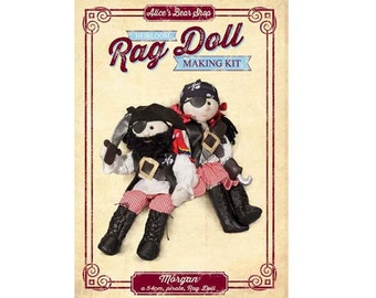 Rag Doll Kit - Morgan Pirate -  54cm when made (with free parrot finger puppet kit)