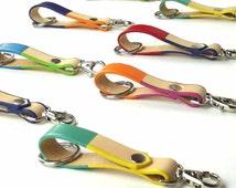 Bespoke handmade colourful English Leather Keychain, Leather Keyfob, Leather KeyHolder,