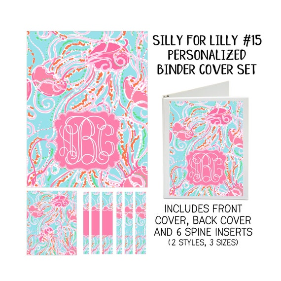 Silly for Lilly #15 Printable Binder Cover Set with Front & Back Covers and Spine inserts - Personalized- Dress up Your Three Ring Binder!