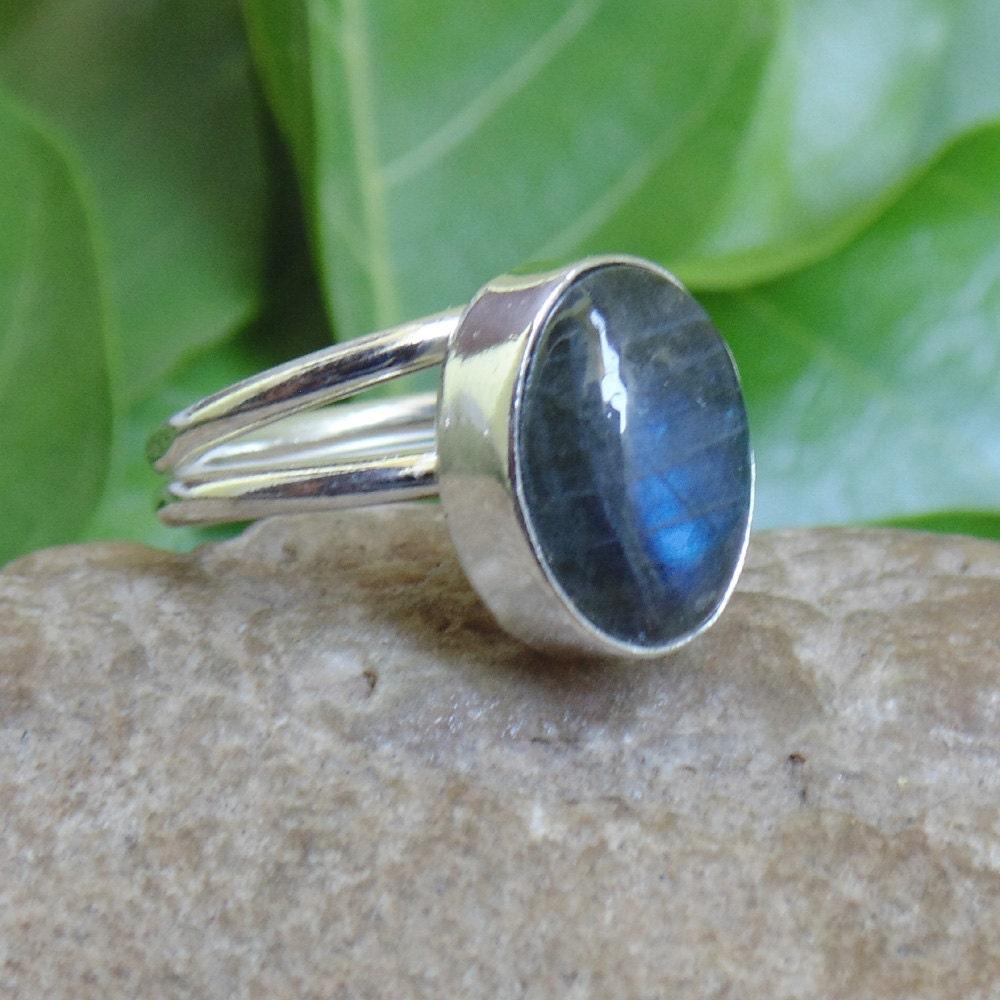 Labradorite Ring Natural Gemstone Ring Blue Fire Stone  Labradorite Rin...