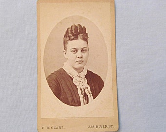 Victorian Photograph, Carte de Visite, Young Woman with Upswept Hair Style, Troy NY