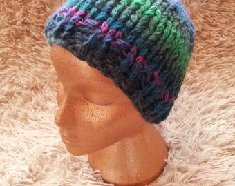 Handknitted multi-coloured chunky knit hat