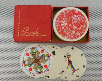 Waddingtons Rondo Round Playing Cards Deck - Watch Gears Cogs Wheels Machine