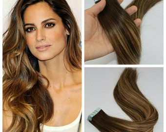 Balayage Remy Tape Hair Extensions, 60 pieces, Virgin hair,