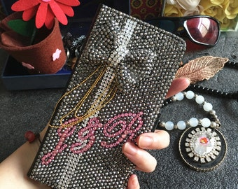Custom Letters Flip Slot Cards Holder Wallet Leather Bling Lovely Punk 3D Bow Gun Black Crystals Rhinestones Diamonds Case for Mobile Phone