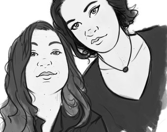 Custom Black and White Sketched Portraits