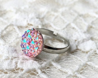 15% OFF Princess Pink  Adjustable Faux Druzy Ring / Adjustable Silver Plated Size Ring / Druzy Statement Ring / Adjustable Rings /