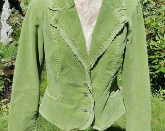 Spring Green Soft Stretch Corduroy Jacket Blazer With Eyelet Trim by BandolinoBlu Size Medium