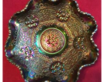 Fenton Cherry Chain Orange Tree Carnival Glass Ruffle Bowl
