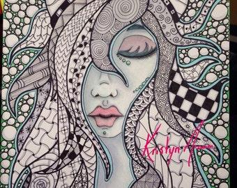 Digital stamp colouring image - Zentagle Horned girl . jpeg / png
