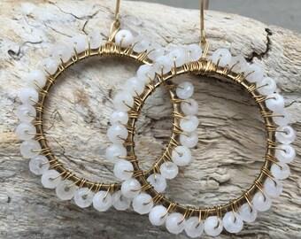 Earrings // Jade wrapped hoops // Ivory