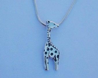 Sterling silver giraffe pendant on silver snake chain; 925 jewellery
