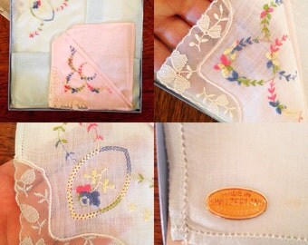 Vintage finest embroidered swiss linen handkerchief set of 2 never used in box