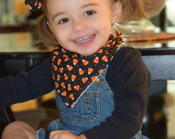 Halloween/Fall candy corn baby bandana bib with matching headband