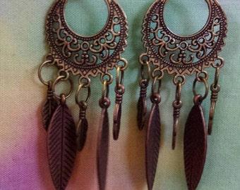 Hippie Feather Dangling Earrings