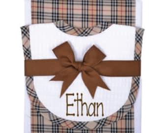Monogram Burp Cloth Set Personalized Bib And Burp Cloth Set Embroidered Bib And Burp Cloth Set Personalized Burp Cloth Set Baby Shower Gift