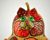 Cat Gourd Sculpture, Gourd Art, Gourd Art, Rustic Home Decor, Hand Crafted, OOAK, Gift for Cat Lover