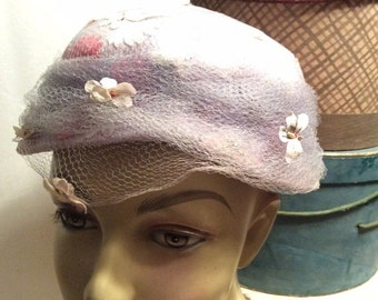 50% Off Sale Vintage Linen Hat with Netting and Flowers/Kerr's