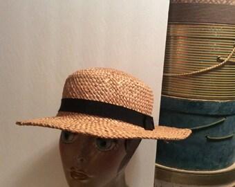 50% Off Sale Vintage 1960s  Natural Straw Boater Hat