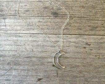 Silver Crescent Moon Necklace - Silver Necklace -Moon Necklace- Fun Necklace - Silver Moon Necklace -Simple Necklace -Gift for Her-Girl Gift
