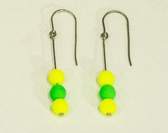 Pearl Earrings, Earnuts, Artistic Jewelry, Dangle Kidney Style, Hot Yellow, Green Neon, Hand Designed, Sterling Silver, MJS, E731