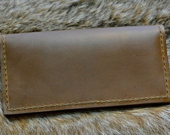 Leather Checkbook Cover / Men's Women's / Handcrafted Wallet / Made in the USA / Brown Checkbook / Handmade / Rustic / Brown Leather