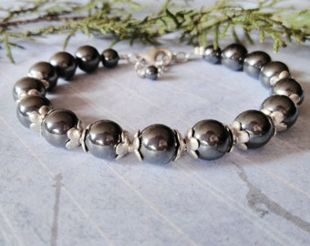 Hematite Bracelet Hematite jewelry Everyday bracelet Everyday Jewelry Gift for mom Hematite Silver Bracelet gift for friend Gray Bracelet