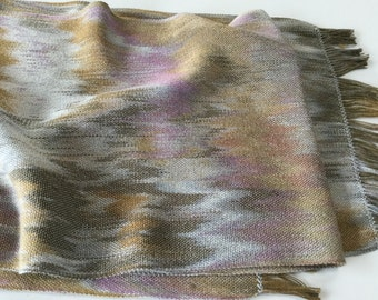 Hand-dyed, handwoven gold, grey, and pink tencel scarf - HSS1