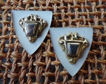 mod shield earrings european 1966 runway designer advanced style chic