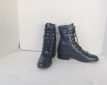 sz 5.5 B vintage dark blue leather DIAMOND J lace up granny combat boots