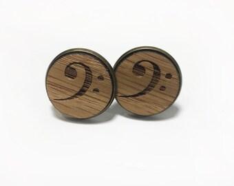 Musical Wooden Cufflink Pair (2) - Music Bass Clef - Handmade Wooden Cufflinks
